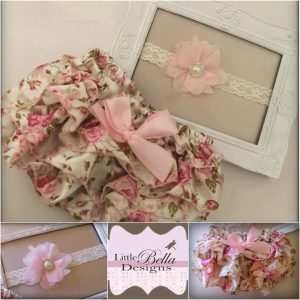 Floral Ruffle Bums & Headband Set - RB2