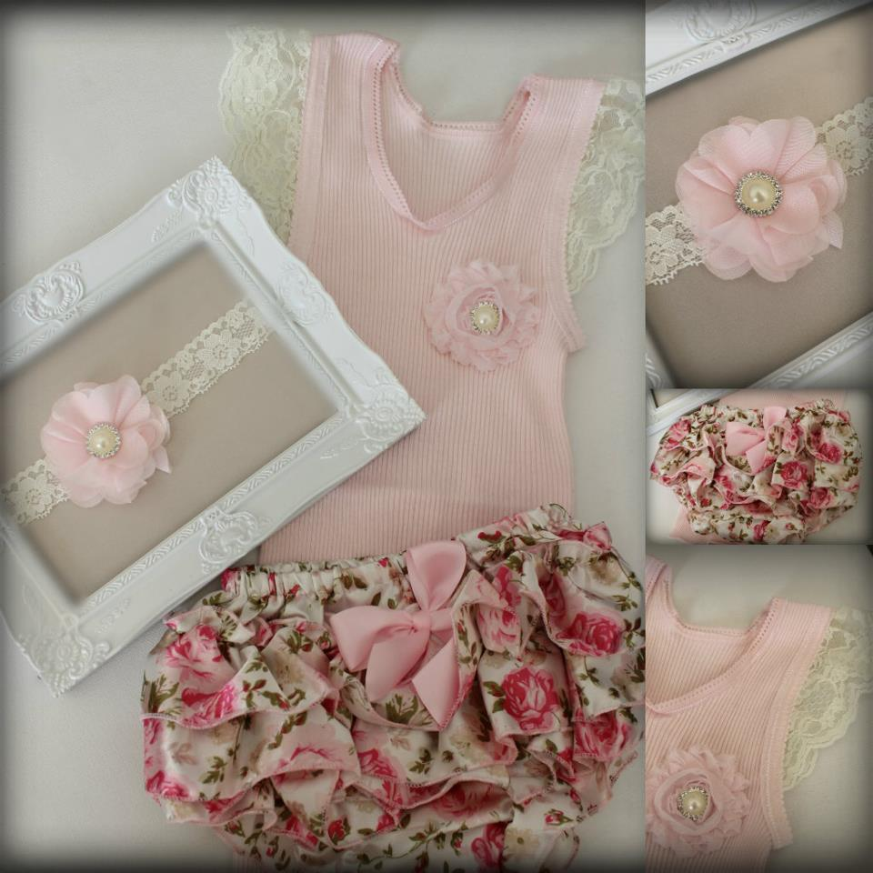 Floral Ruffle Bums, Singlet & Headband Set - RB1