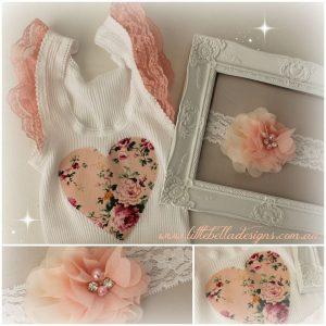 Floral heart singlet & matching headband