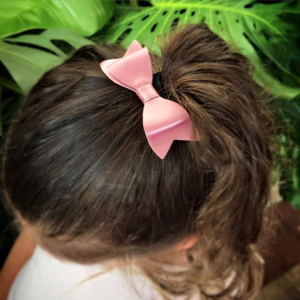 Leather Bow - Pink