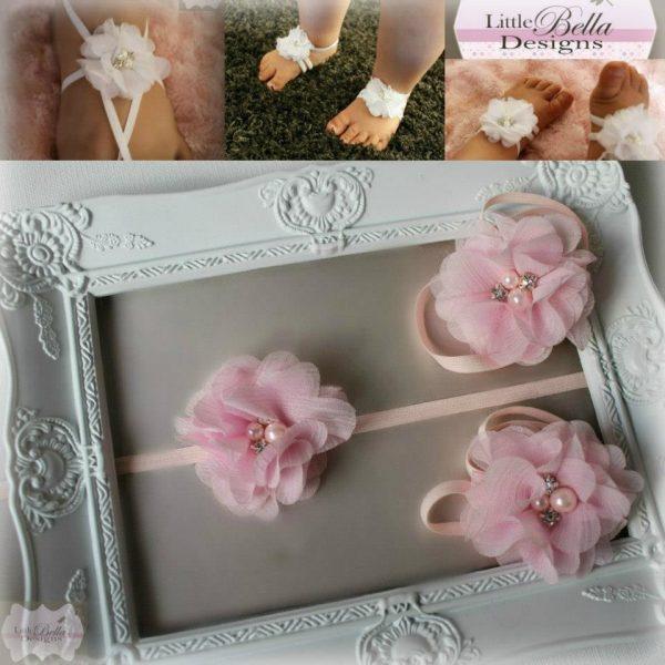 Pink Diamante Barefoot Sandals & Headband - B2