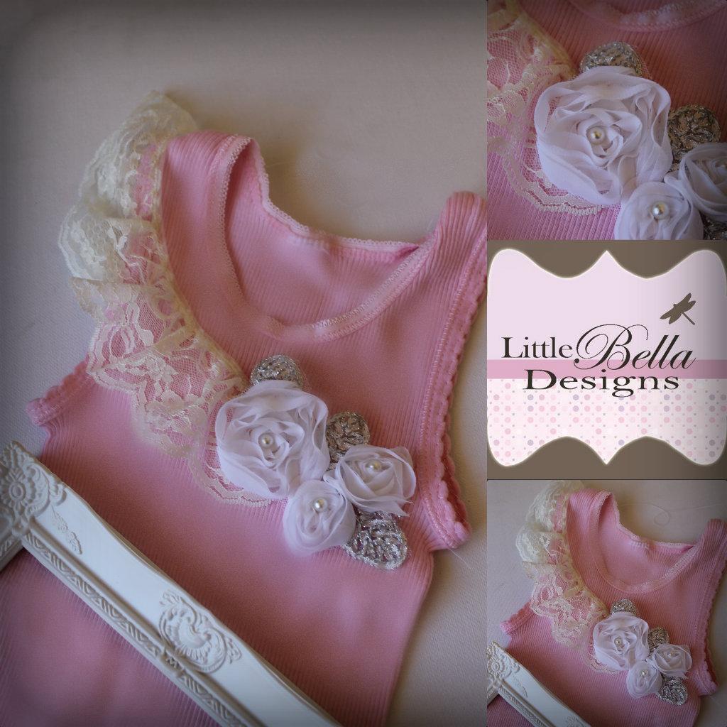 Pink Ivory Lace Singlet - SC71