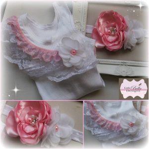 Pink Lace Singlet & Headband - SC83