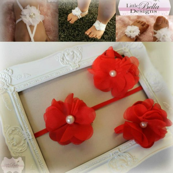 Red Pearl Barefoot Sandals & Headband - B6