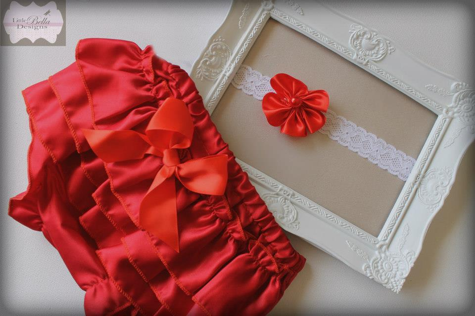 Red Ruffle Bums & Headband Set - RB8