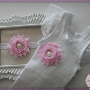 White Lace Pink Flower Singlet Headband Combo - SC22